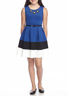 Beautees Color Block Belted Skater Dress Girls 7-16