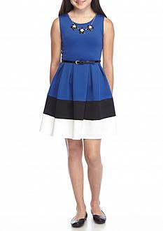 Beautees Color Block Belted Skater Dress Girls 7-16