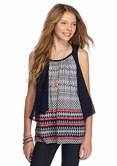 Beautees 2-Piece Cozy Vest and Printed Top Set Girls 7-16