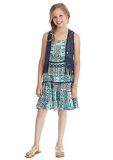 Beautees 2-Piece Crochet Vest and Boho Dress Set Girls 7-16