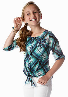 Beautees Plaid to Floral Chiffon Tie Front Top Girls 7-16