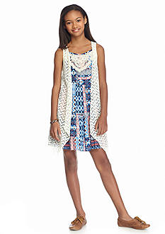 Beautees 2-Piece Printed Dress and Crochet Vest Girls 7-16
