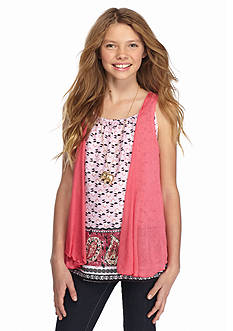 Beautees 2-Piece Cozy and Printed Top Set Girls 7-16