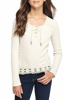 Beautees Ribbed Lace Up Crochet Top Girls 7-16