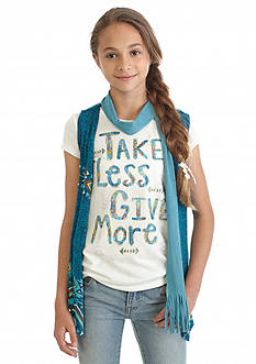 Beautees 2Fer 'Take Less Give More' Top and Vest Girls 7-16