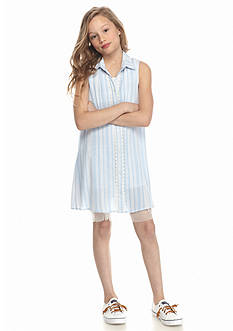 Beautees 2-Piece Denim Button Front Lace Swing Dress Girls 7-16