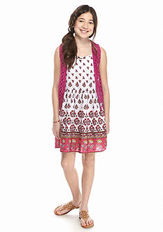 Beautees 2-Piece Crochet Vest and Boho Dress Girls 7-16
