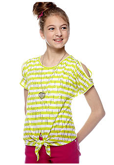 Beautees Sequins Tie Front Top With Necklace Girls 7-16