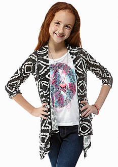 Beautees 2-Piece Ikat Cardigan and Tank Set Girls 7-16