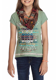 Beautees Printed Owl Split Back Top Girls 7-16