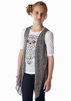 Beautees Owl Tee and Cardi Vest Girls 7-16