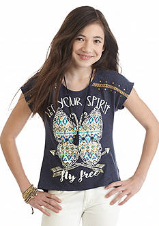 Beautees 'Let Your Spirit Fly Free' Butterfly Top Girls 7-16