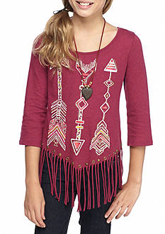 Beautees Arrow Fringe Top with Necklace Girls 7-16