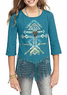 Beautees Arrows Fringe Top With Necklace Girls 7-16