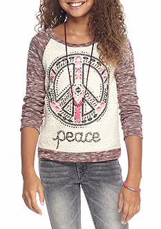 Beautees Peace Embroidery Top with Necklace Girls 7-16