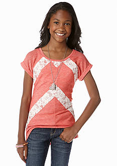 Beautees Hi Low Lace Detailed Top Girls 7-16