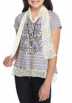 Beautees Printed Owl Stripe Crochet Top and Scarf Girls 7-16
