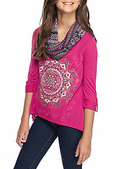 Beautees Pink Medallion Top with Scarf Girls 7-16