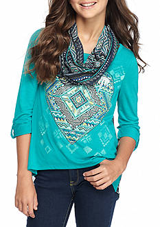Beautees Heart Medallion Top with Scarf Girls 7-16