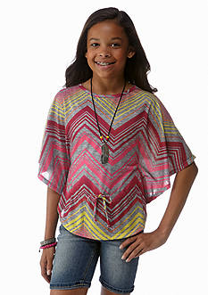 Beautees Chevron Stripe Circle Top Girls 7-16