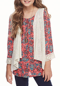 Beautees Cold Shoulder Peasant Top with Vest and Necklace 2-Piece Set Girls 7-16