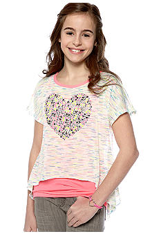 Beautees 2-Piece Sharkbite Heart Top Girls 7-16