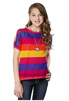 Beautees Cold Shoulder Stripe Top Girls 7-16