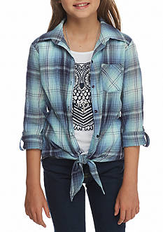 Beautees Owl Plaid Front Tie Top with Necklace Girls 7-16