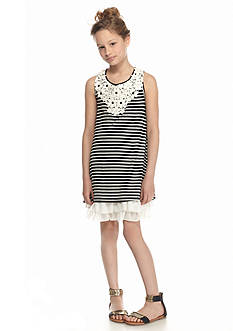 Beautees Knit Stripe Swing Dress Girls 7-16