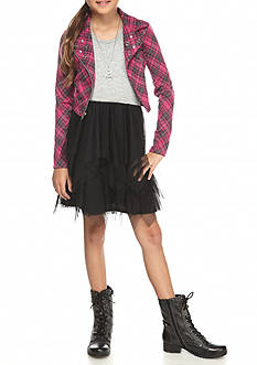 Beautees Plaid Motorcycle Jacket Ballerina Dress Girls 7-16