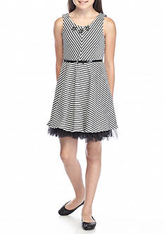 Beautees Textured Belted Skater Dress Girls 7-16
