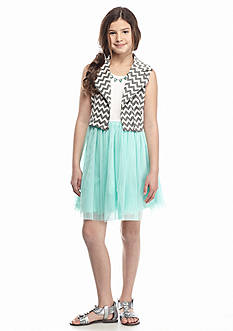 Beautees 2-Piece Mesh Dress and Chevron Moto Jacket Set Girls 7-16