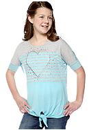 Beautees Studded Heart Front Tie Top Girls Plus