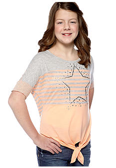 Beautees Studded Star Stripe Tie Front Top Girls Plus