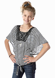 Beautees Stripe Tie Front Crochet Top Girls 7-16