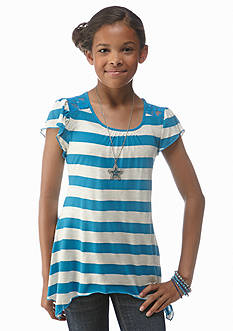 Beautees Stripe Necklace Tee Girls 7-16