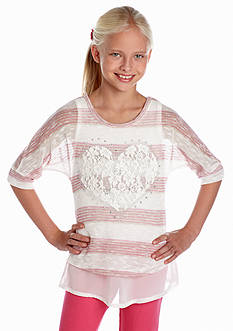 Beautees Lace Heart Top Girls 7-16