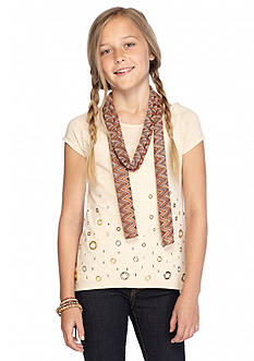 Beautees 2Fer Short Sleeve Grommet Top & Scarf Girls 7-16