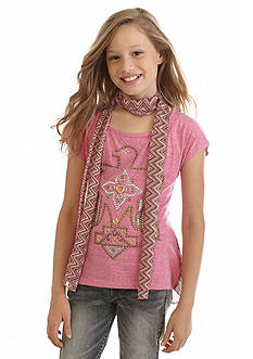 Beautees 2Fer Grommet Bird Crochet Back Top and Scarf Girls 7-16