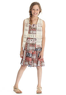 Beautees 2-Piece Crochet Vest and Dress Set Girls 7-16