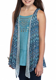 Beautees 2Fer Suede Tank and Printed Vest Girls 7-16