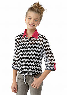 Beautees Tie Front Chevron Chiffon Pop Over Top Girls 7-16