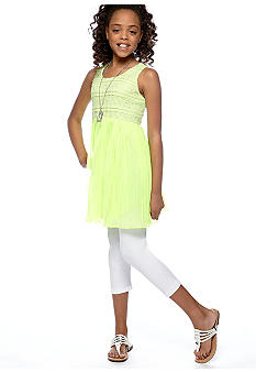 Beautees Necklace Legging Set Girls 7-16