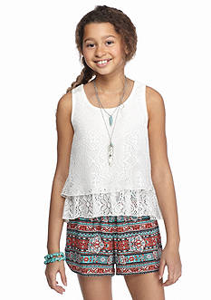 Beautees 2-Piece Lace Necklace Tank and Printed Shorts Girls 7-16