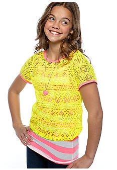 Beautees Neon Crochet Necklace Top Girls 7-16