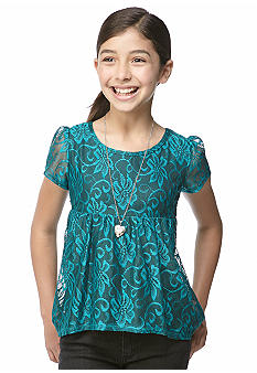 Beautees Lace Baby Doll Top Girls 7-16