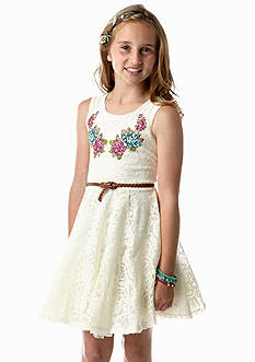 Beautees Lace Belted Dress Girls 7-16
