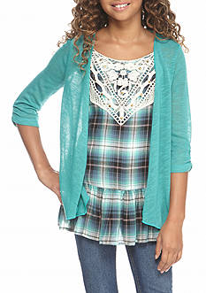 Beautees 2-Piece Plaid Tank Top with Knit Cardigan Set Girls 7-16