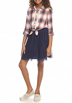 Beautees Plaid Ballerina Dress Girls 7-16