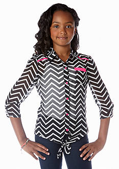 Belle du Jour Chevron Chiffon Tie Front Top Girls 7-16